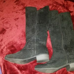 Shoes - Black suede high boots size 11